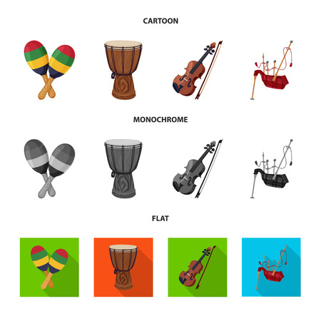 Vector design of music and tune sign. Collection of music and tool stock vector illustration. Ilustração Vetorial