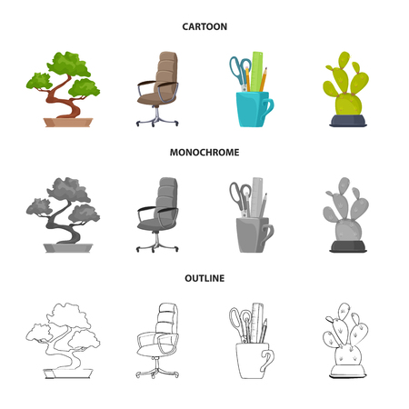 Vector illustration of furniture and work symbol. Collection of furniture and home vector icon for stock.