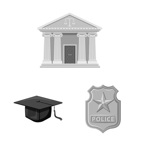 Isolated object of law and lawyer sign. Set of law and justice stock vector illustration.