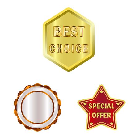 Vector design of emblem and badge logo. Set of emblem and sticker stock symbol for web. Stock Illustratie