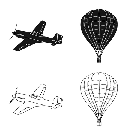 Vector design of plane and transport logo. Set of plane and sky stock symbol for web.