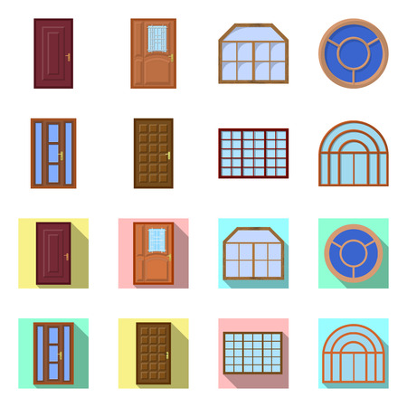 Vector design of door and front icon. Set of door and wooden vector icon for stock. Stock Illustratie