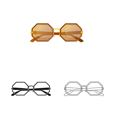 Isolated object of glasses and sunglasses symbol. Collection of glasses and accessory stock vector illustration.