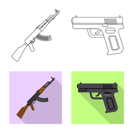 Vector illustration of weapon and gun icon. Set of weapon and army stock symbol for web.