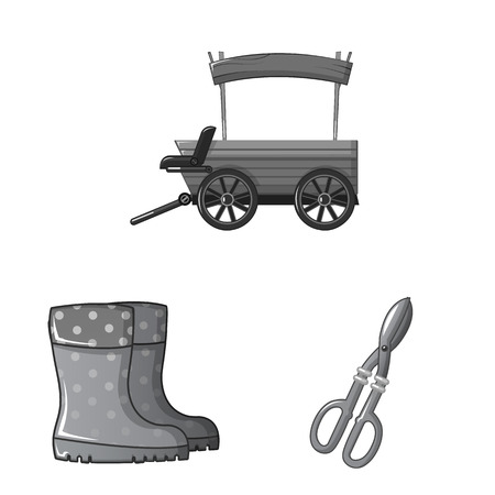 Vector illustration of farm and agriculture icon. Collection of farm and plant stock vector illustration. Vetores