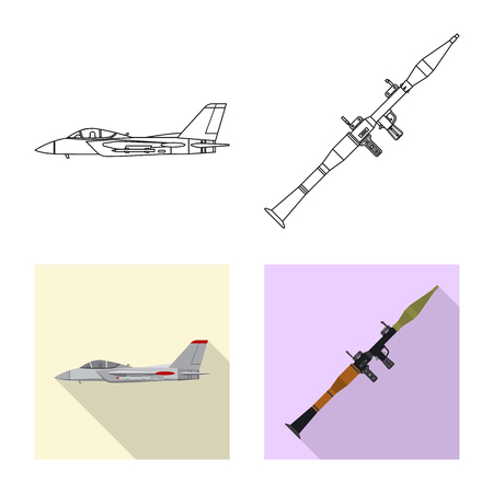 Vector illustration of weapon and gun sign. Collection of weapon and army stock symbol for web. Illustration