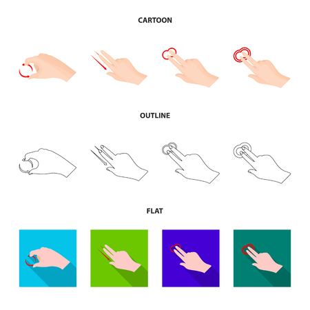 Vector illustration of touchscreen and hand icon. Set of touchscreen and touch vector icon for stock.