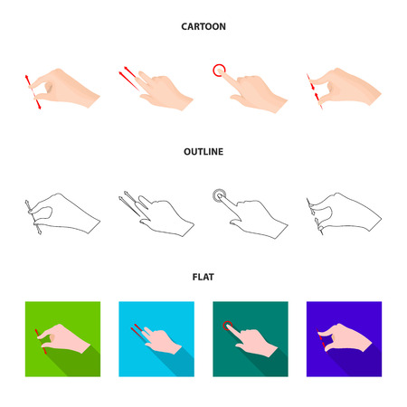 Vector illustration of touchscreen and hand icon. Set of touchscreen and touch stock symbol for web.
