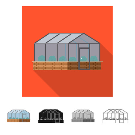 Vector illustration of greenhouse and plant sign. Collection of greenhouse and garden stock symbol for web. Illustration