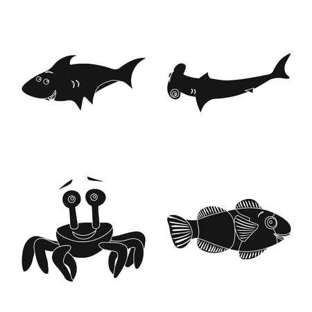 Vector design of sea and animal symbol. Collection of sea and marine vector icon for stock. 向量圖像