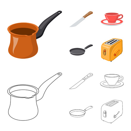 Isolated object of kitchen and cook icon. Set of kitchen and appliance stock symbol for web.