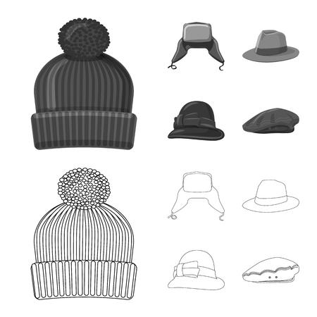 Vector design of headgear and cap symbol. Set of headgear and accessory vector icon for stock.