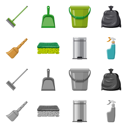 Vector design of cleaning and service symbol. Collection of cleaning and household stock symbol for web.