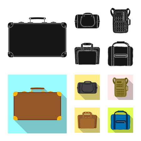 Isolated object of suitcase and baggage logo. Collection of suitcase and journey stock vector illustration. Logo