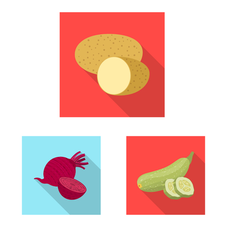 Isolated object of vegetable and fruit sign. Set of vegetable and vegetarian stock symbol for web.