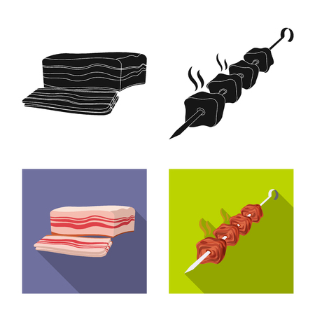 Vector design of meat and ham logo. Set of meat and cooking vector icon for stock.