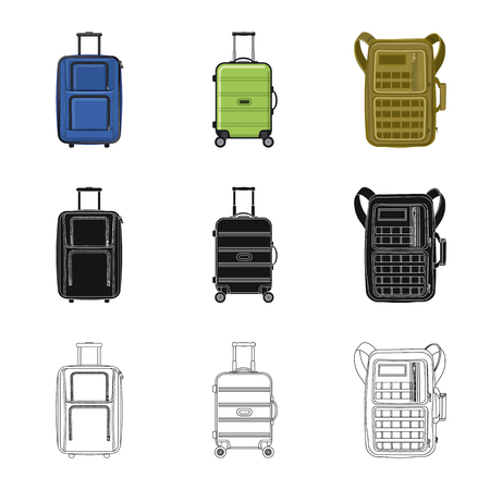 Vector illustration of suitcase and baggage icon. Collection of suitcase and journey stock symbol for web.