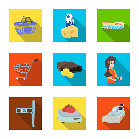 Isolated object of food and drink symbol. Set of food and store vector icon for stock. Ilustracja