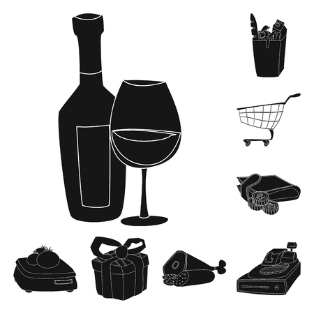 Vector illustration of food and drink sign. Collection of food and store stock vector illustration.  イラスト・ベクター素材