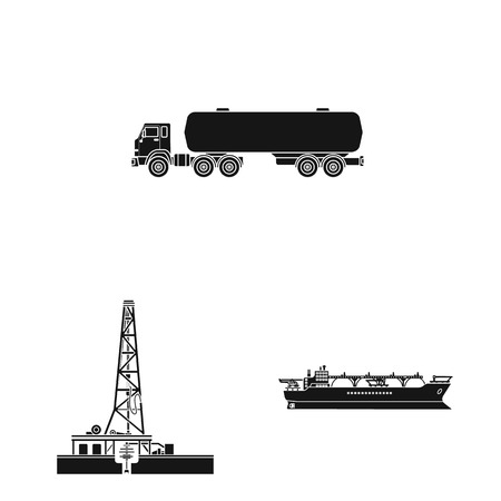 Isolated object of oil and gas sign. Set of oil and petrol stock symbol for web. Illustration
