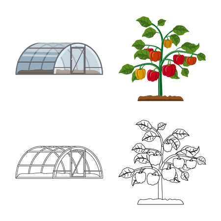 Vector design of greenhouse and plant symbol. Set of greenhouse and garden stock vector illustration.