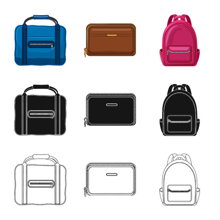 Isolated object of suitcase and baggage. Collection of suitcase and journey vector icon for stock. Vettoriali