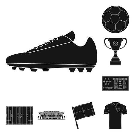 Vector illustration of soccer and gear sign. Set of soccer and tournament stock symbol for web. Иллюстрация