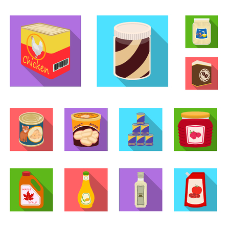 Vector design of can and food logo. Set of can and package stock vector illustration.