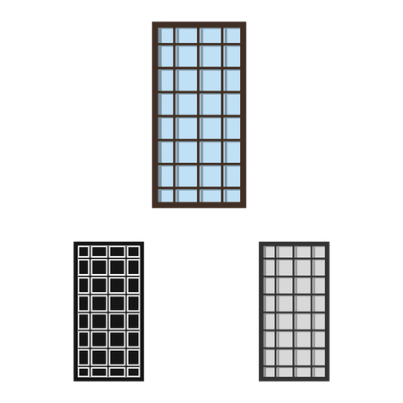Vector illustration of door and front. Set of door and wooden vector icon for stock. Stock Illustratie