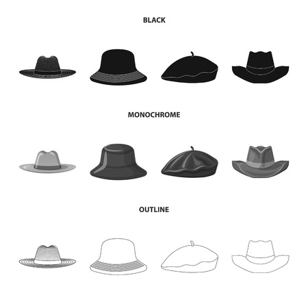 Vector illustration of headgear and cap. Set of headgear and accessory stock vector illustration.