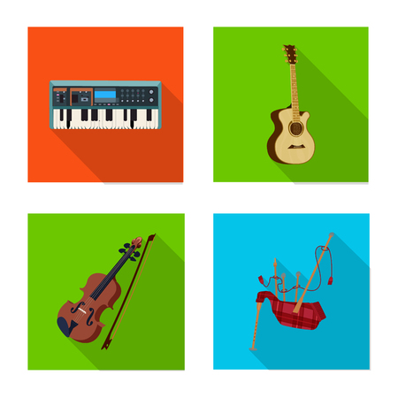 Isolated object of music and tune sign. Collection of music and tool stock symbol for web.