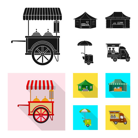 Vector illustration of market and exterior sign. Collection of market and food stock vector illustration.