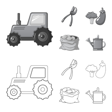 Vector design of farm and agriculture icon. Set of farm and plant stock vector illustration. Illustration