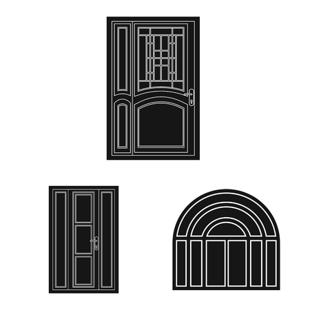 Isolated object of door and front. Collection of door and wooden stock vector illustration. Illustration