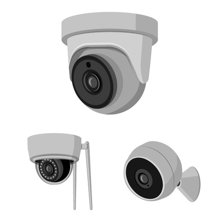 Isolated object of cctv and camera. Collection of cctv and system vector icon for stock.