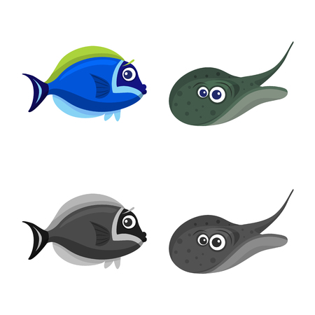 Vector illustration of sea and animal. Collection of sea and marine vector icon for stock.