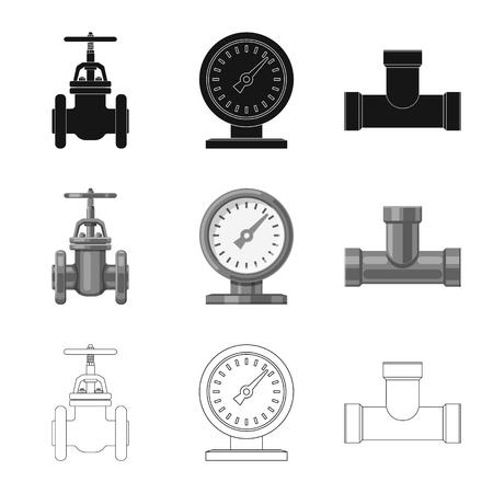 Vektordesign des Rohrsymbols. Satz Rohr und Rohrleitungsvorratvektorillustration. Vektorgrafik