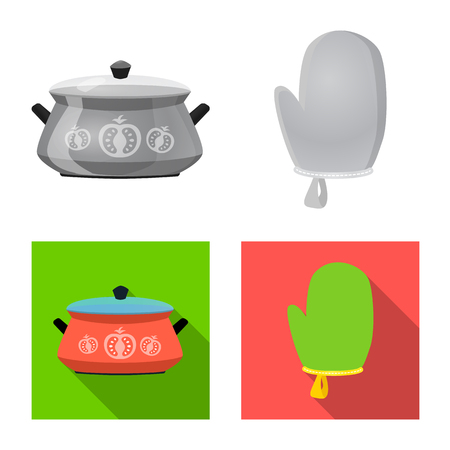 Isolated object of kitchen and cook symbol. Set of kitchen and appliance vector icon for stock. Illustration