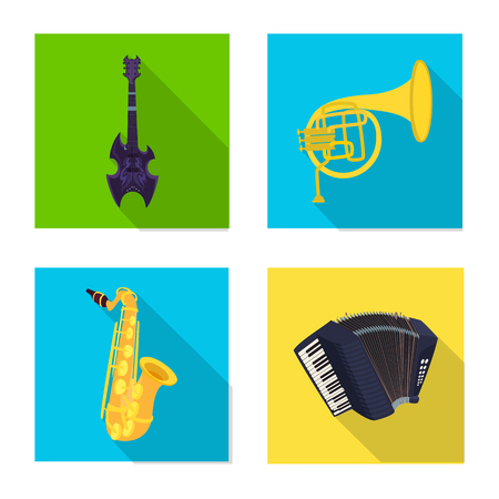 Vector design of music and tune sign. Set of music and tool stock vector illustration.