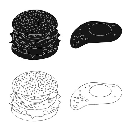 Isolated object of burger and sandwich icon. Set of burger and slice stock symbol for web. Vettoriali