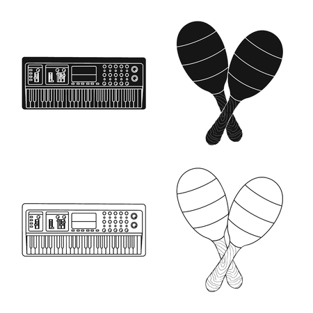 Vector design of music and tune sign. Collection of music and tool stock vector illustration. Vectores