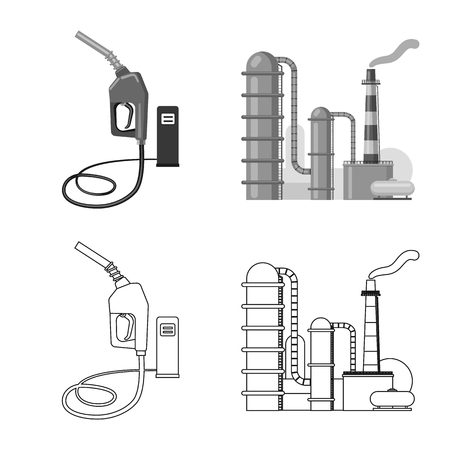 Vector design of oil and gas symbol. Collection of oil and petrol vector icon for stock. Illustration