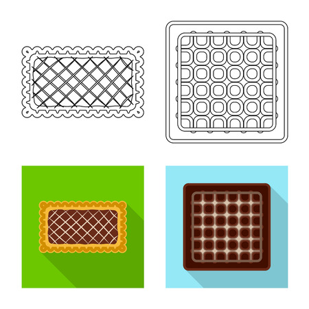 Vector illustration of biscuit and bake sign. Collection of biscuit and chocolate stock vector illustration.