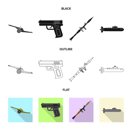 Vector design of weapon and gun logo. Collection of weapon and army stock symbol for web.