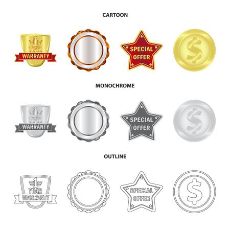 Vector illustration of emblem and badge icon. Set of emblem and sticker stock symbol for web.