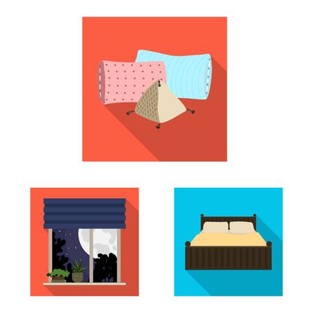 Vector illustration of dreams and night logo. Set of dreams and bedroom stock vector illustration.