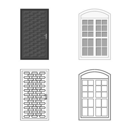 Vector design of door and front icon. Set of door and wooden stock symbol for web.