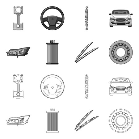 Vector illustration of auto and part logo. Set of auto and car stock vector illustration.