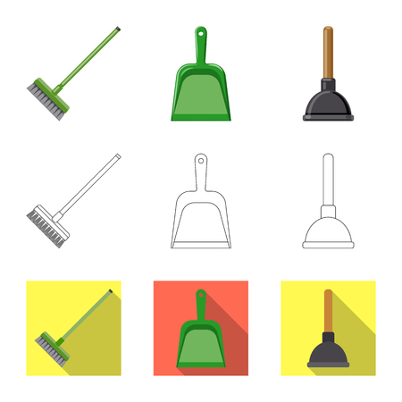Isolated object of cleaning and service logo. Set of cleaning and household stock vector illustration.