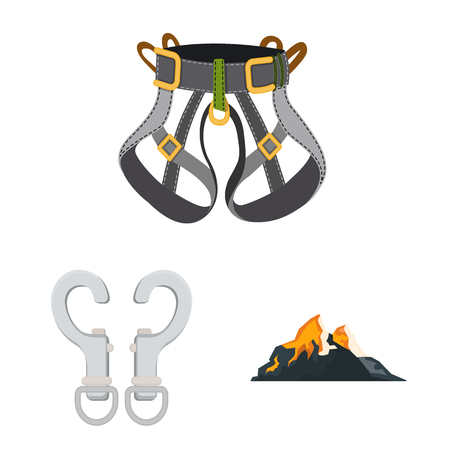 Isolated object of mountaineering and peak sign. Collection of mountaineering and camp stock vector illustration.